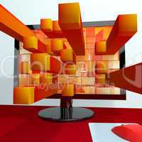 Three Dimensional Orange Squares On Computer Monitor Shows 3d Gr