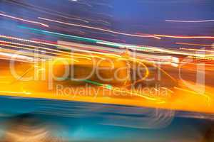 Taxi cab blured in motion
