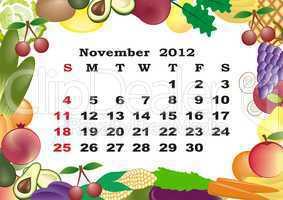November - monthly calendar 2012 in colorful frame