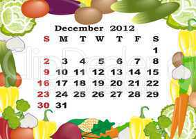 December - monthly calendar 2012 in colorful frame