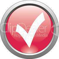 red  button  or icon for webdesign- checkmark
