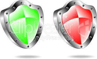 Glossy shield emblem icons in red and green colors