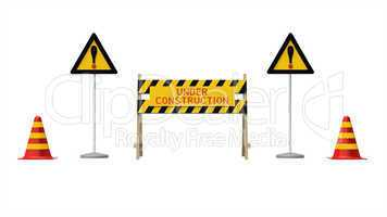 Construction and caution sign