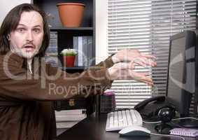 emotional man in office