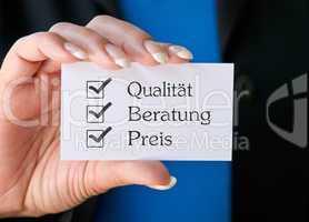 Qualität Beratung Preis