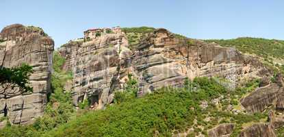 The panorama of Meteora with Holy Monastery of Varlaam on the to