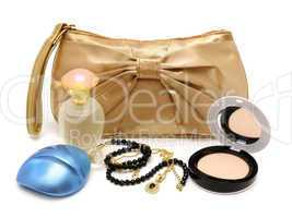 Handbag, perfume, powder, necklace