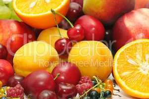 fruits on a white background