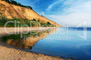 Seashore lit the morning sun