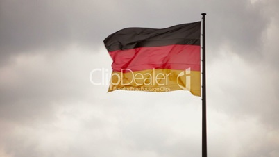 German Flag (Fahne) in the Sky with cloud Dynamic and Wind in 1080p FullHD