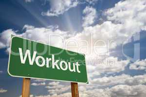 Workout Green Road Sign and Clouds