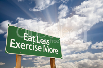 Eat Less Exercise More Green Road Sign and Clouds