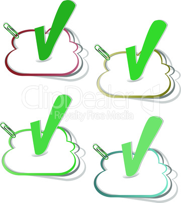 check mark button vector stickers label tag set