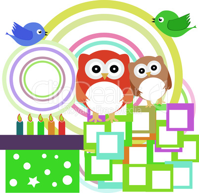 Vector birthday party card with cute owl - holiday
