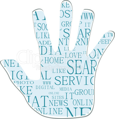 Illustration of the hand symbol, which is composed of text keywords on social media themes. Isolated on white