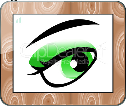 Vector tablets pc with vector eyes isolated on white
