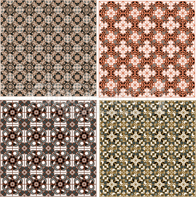 Vector set of seamless patterns in islamic style