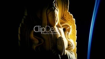 Orient buddha statue,Smoke Soot filled burning incense.