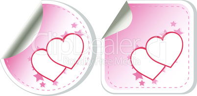 set of two love valentines heart label. vector stickers