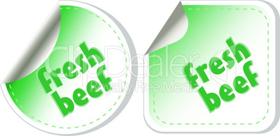 Fresh beef for steak green stickers set. vector