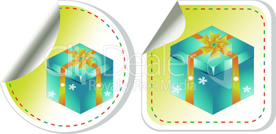 Blue gift box with a yellow bow sticker set. vector label
