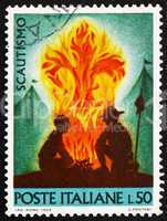 Postage stamp Italy 1968 shows Scouts at Campfire
