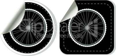 vector white bike wheel sticker set on white background