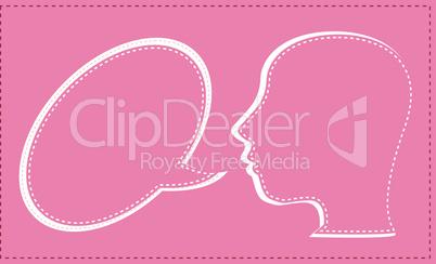 vector talking human head with speech bubble