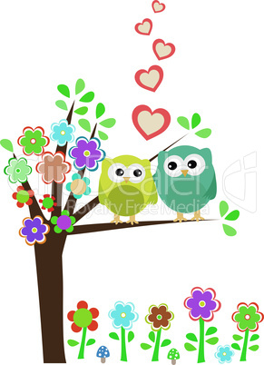 vector background with owls in love sitting on branch