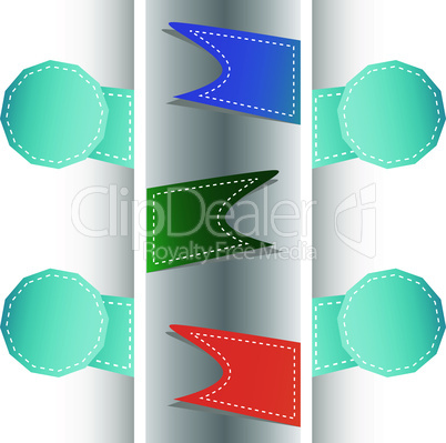 Set of origami ribbons and banners. Vector label set