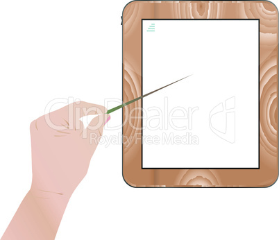 Hand point on digital tablet pc wood mount isolated on white background