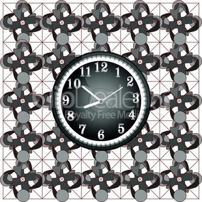modern wall clock on the grunge vector background