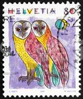 Postage stamp Switzerland 1991 Common Barn Owls, Tyto Alba, Anim