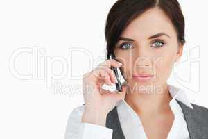 Blue eyed businesswoman on the phone