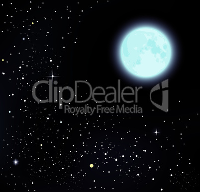 vector starry sky and moon