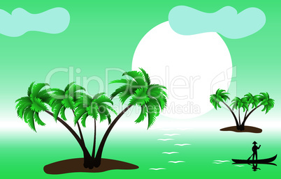 vector tropical palm islands