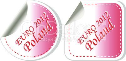 poland euro 2012 in flag colors sticker set. vector illustration