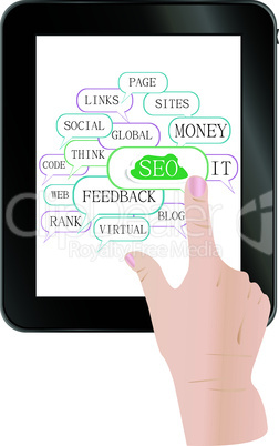 tablet pc with cloud and tags on social engine optimization theme