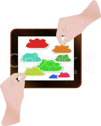 finger pointing modern touch screen tablet computer, cloud computing technology concept