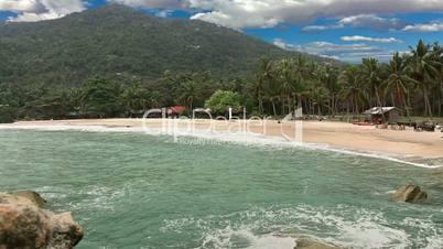 Ocean beach with palms and blue sky