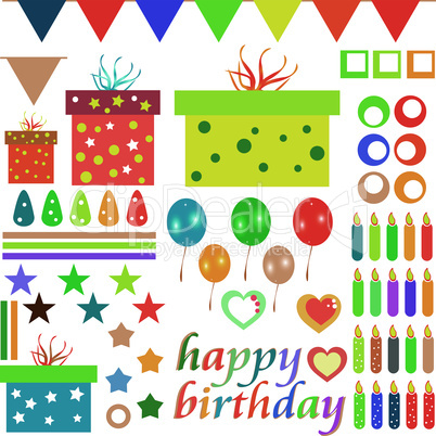 happy birthday design elements for baby scrapbook isolated on white