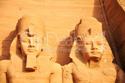 Landmark of the famous Ramses II statues at Abu Simbel in Egypt