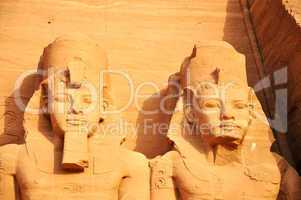 Landmark of the famous Ramses II statues at Abu Simbel in Egypt
