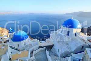 Blue domes of orthodox churches, Santorini, Greece