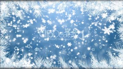Winter background with falling snowflakes, fur-tree branches