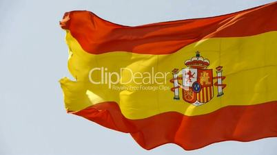 Spain flag is fluttering in wind.
