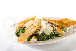Greek style salad with garlic bread