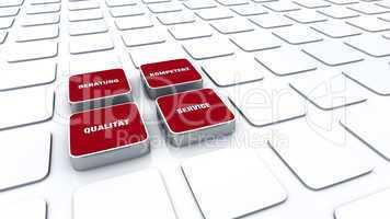 Quader Konzept Rot - Beratung Kompetenz Qualität Service 5