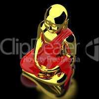 Big Buddha on black - gold red
