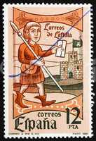 Postage stamp Spain 1981 Mail Messenger, Woodcut